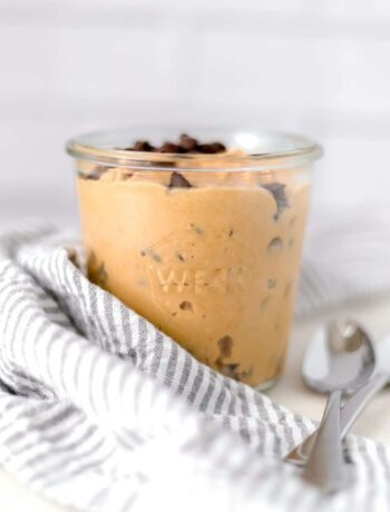This Edible Cookie Dough is simple to make and egg free with just four basic ingredients. It is thick, creamy, and delicious. The perfect snack. simplylakita.com #dessert #snack #ediblecookiedough #cookiedough
