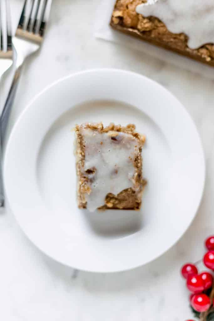 slice of hummingbird coffee cake on plate