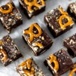 close-up view of pretzel fudge