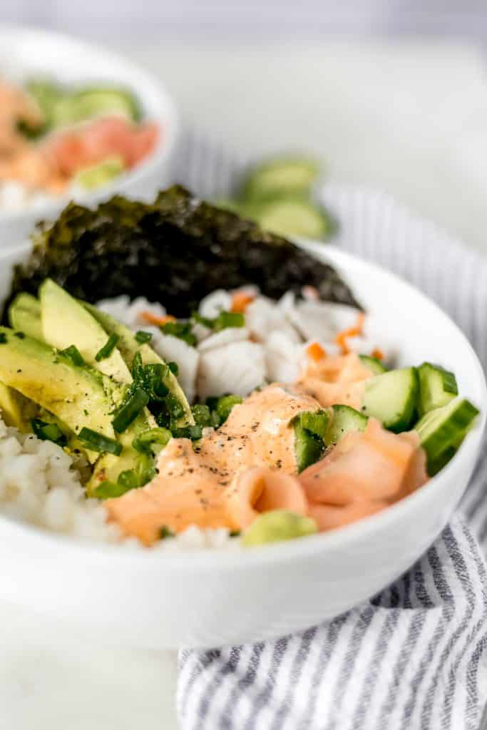 Close-up California Roll Bowl side view