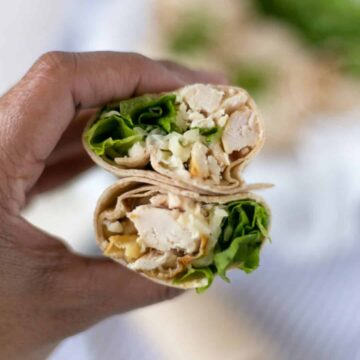 hand holding chicken ranch wrap