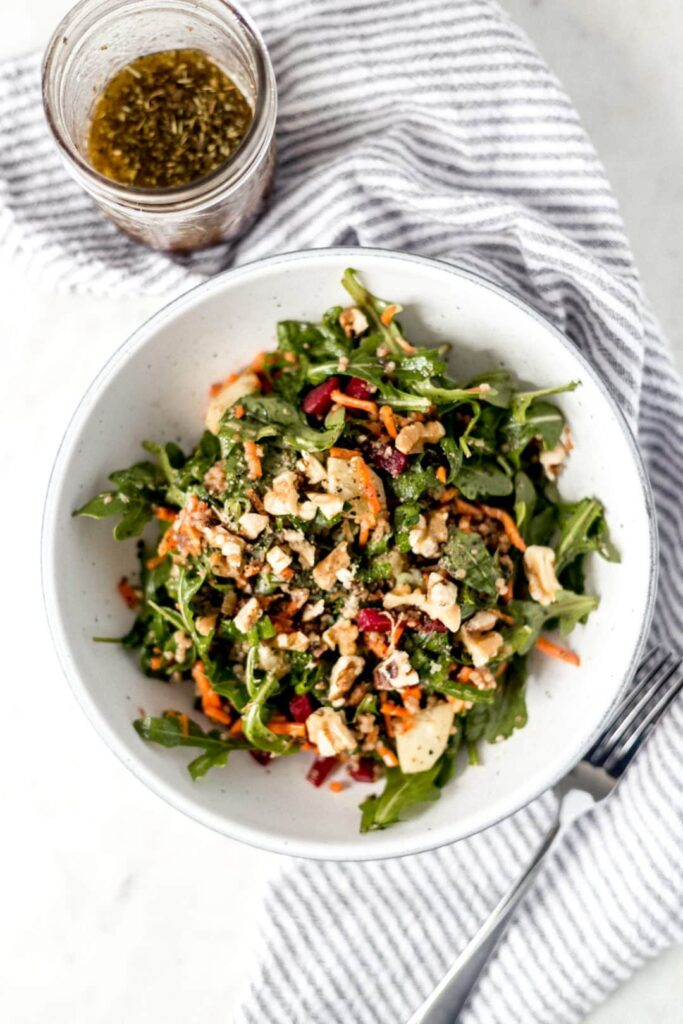 This Everyday Salad is the perfect no-frills way to pack healthy vegetables into your day. It is fresh and flavorful with a delicious balsamic vinaigrette. simplylakita.com #healthy #salad