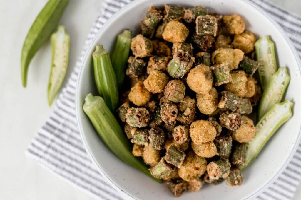 bowl of freshly fried okra