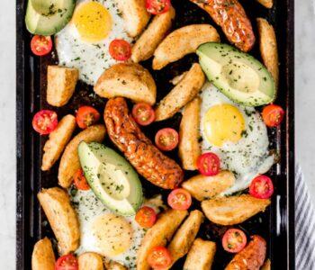 Overhead Sheet Pan Breakfast Bake photo