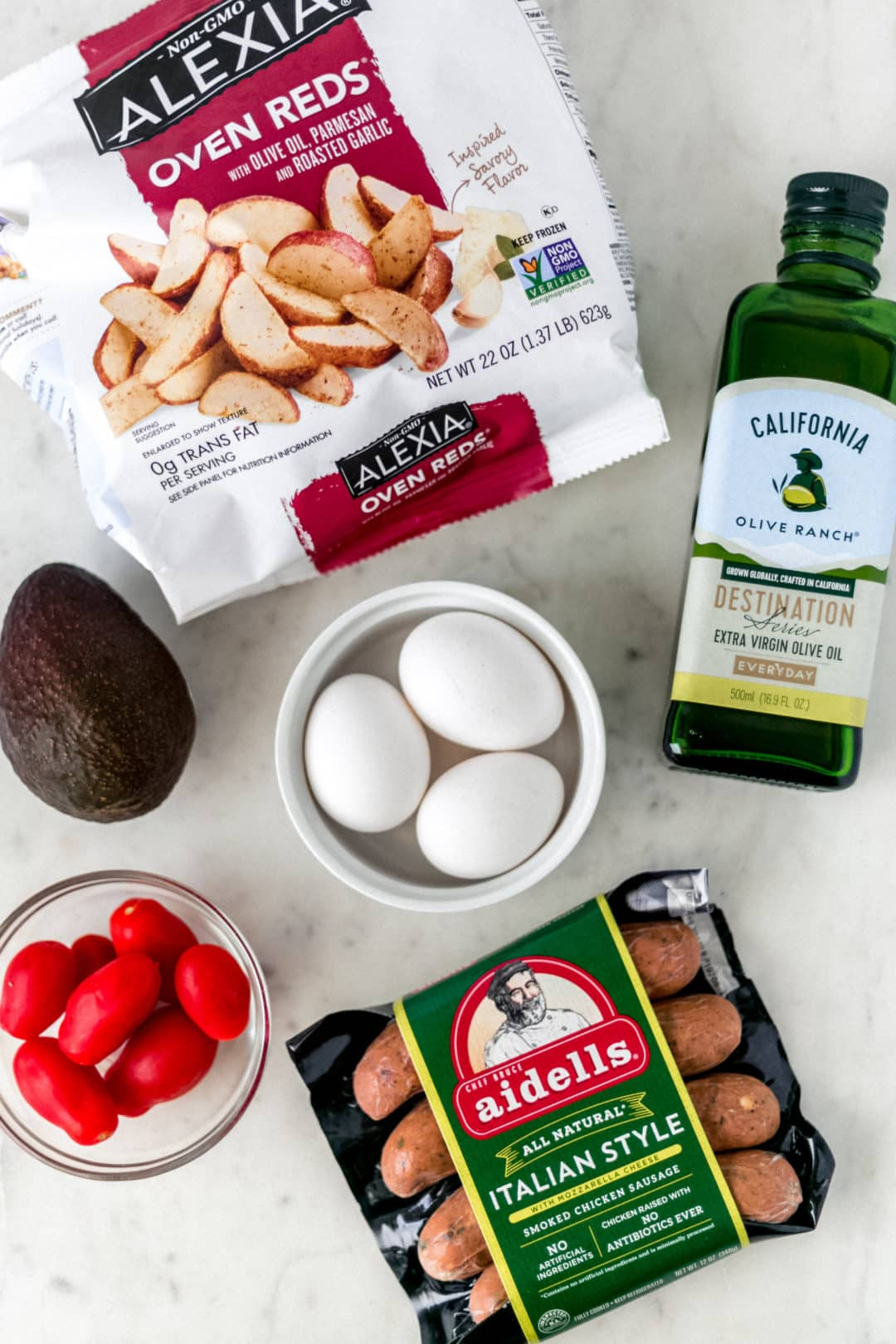 Ingredients for sheet pan breakfast bake