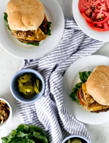 Try this No Fuss Hamburger Recipe when you need a big, juicy, loaded hamburger in minutes. Topped with caramelized onions and jalapenos for a treat. simplylakita.com #hamburger #burgerrecipe