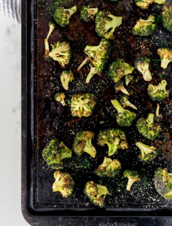 oven roasted broccoli on a sheetpan