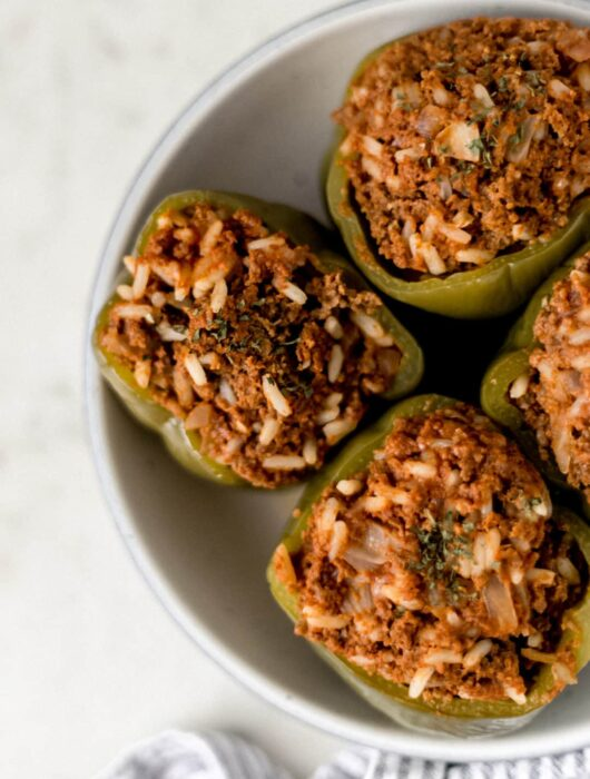 four instant pot stuffed peppers in a large bowl