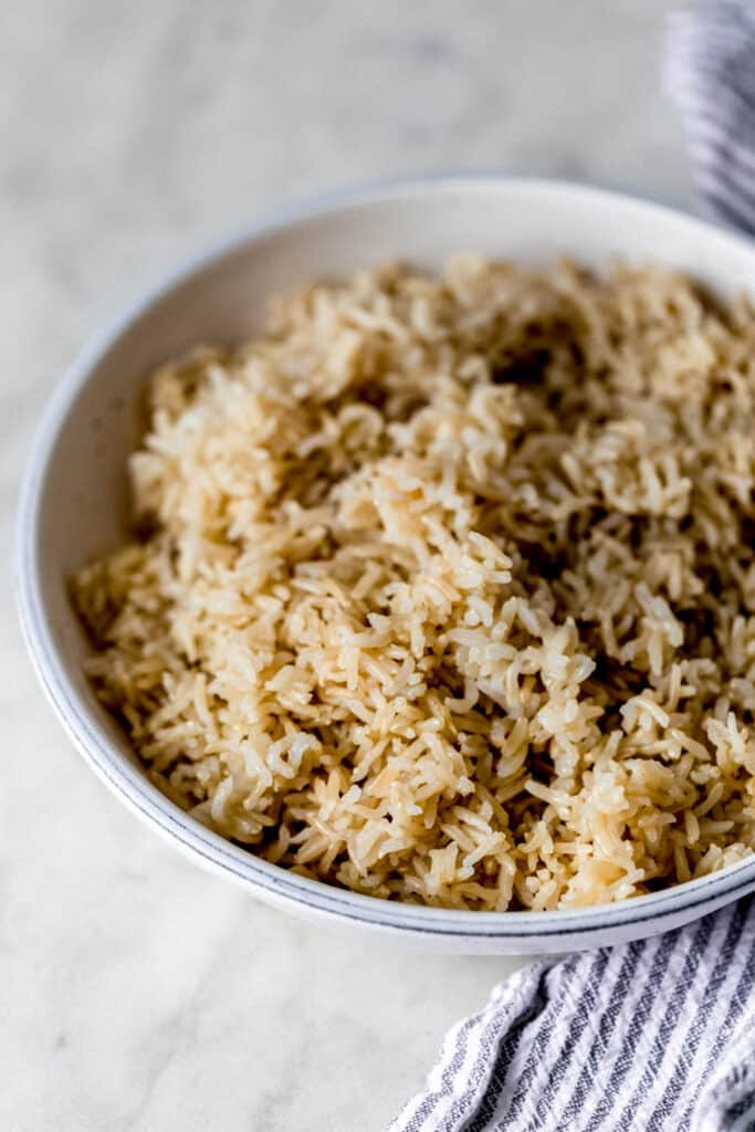 close up side view cooked instant pot brown rice
