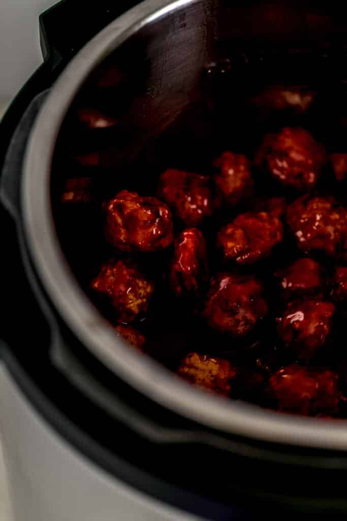 sweet and spicy meatballs in pressure cooker