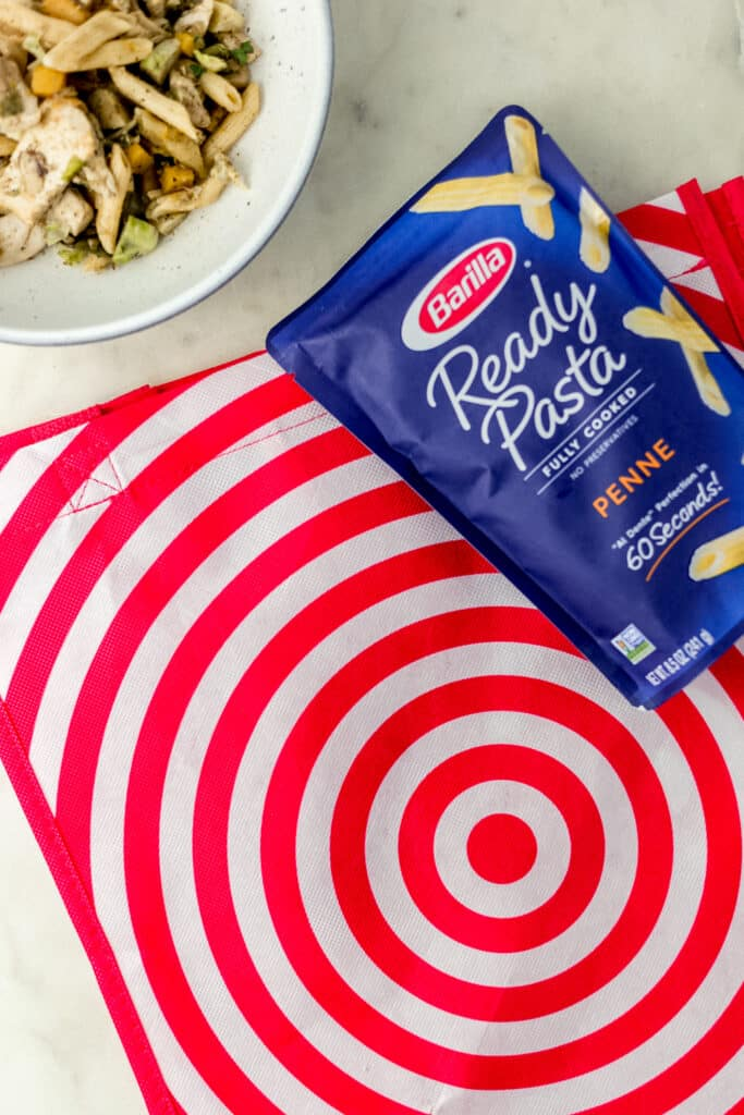 bowl of pasta, target bag, and barilla pasta package.