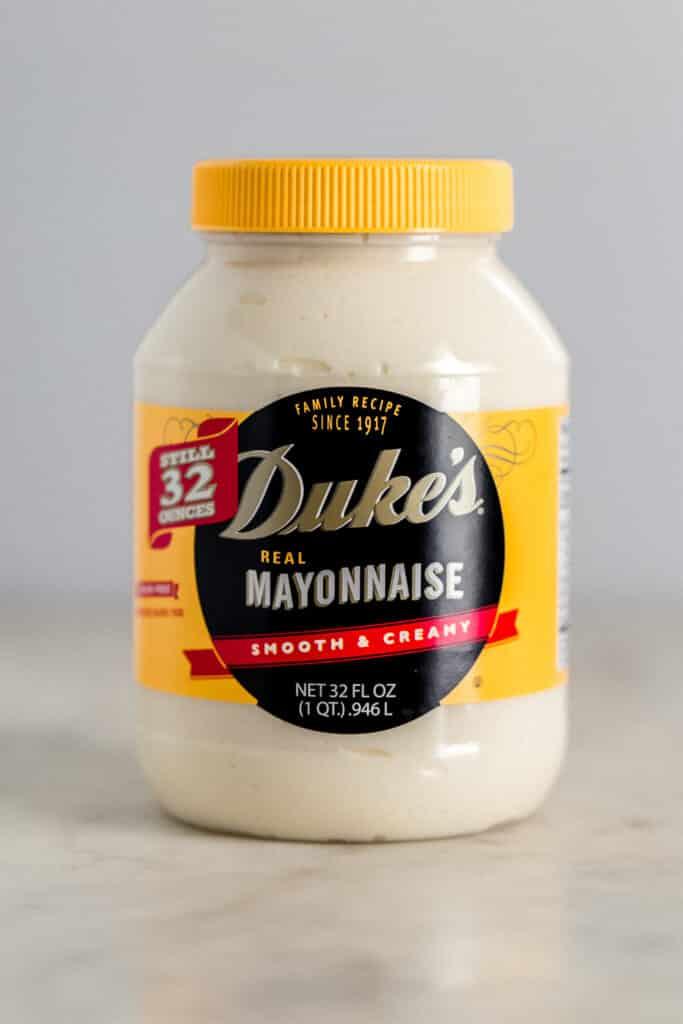 close up side view jar of duke's mayo.