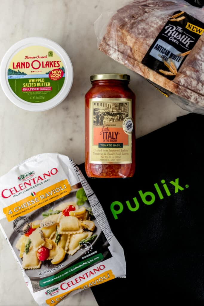 Publix shopping bag with items for the Everyday Delicious promotion.
