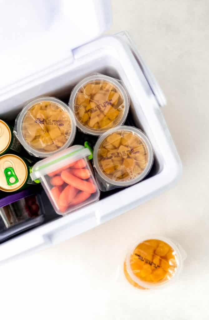 small cooler with snacks inside of it