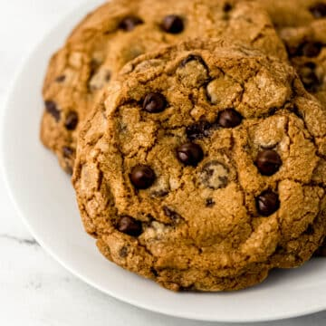 chocolate chip cookie on white plate