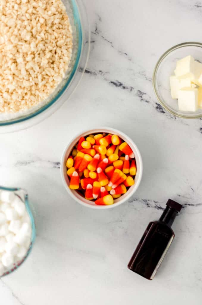 ingredients in separate containers to make rice krispie treats