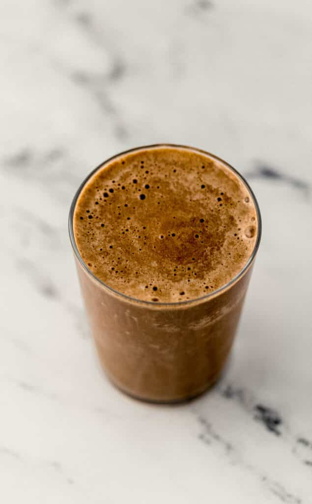 mocha smoothie in glass